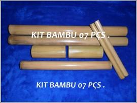 Kit Bambu para Massagem Modeladora Facial e Corporal - 7 peças
