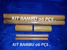 Kit Bambu para Massagem Modeladora Facial e Corporal - 6 peças
