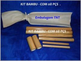 Kit Bambu para Massagem Modeladora Facial e Corporal - 8 peças